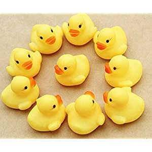 WellieSTR 100-PACK Mini Rubber Duck Baby Bath Toy, Cute Rubber Duck Ducky Duckie Baby Shower Birthday Party Favors (3.8x3.8x3cm)