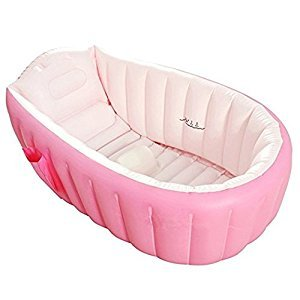 Inflatable Bathtub Large Capacity Plastic Air Baby Swimming Pool Kids Thick Foldable Shower Basin, Pink