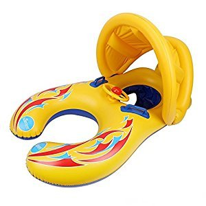 Mother and Baby Pool Float Double Person Swimming Ring with Removable Canopy and Storage Bag (yellow)