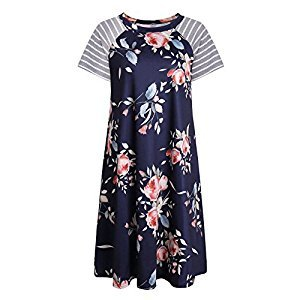 Women's Casual T-shirt Dress Short Sleeve Loose Dresses Tank Sundresses Navy Blue XL