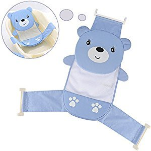 Yosoo Adjustable Thicken Newborn Baby Bath Seat Support Net Bathtub Sling Shower Mesh Bathing Cradle Rings for Tub (Blue Bear)