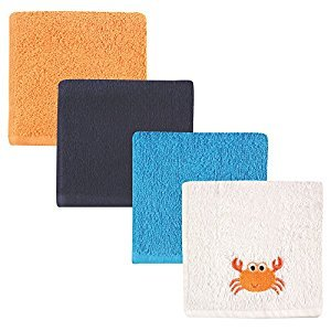 Luvable Friends 4-Piece Super-Soft Washcloths, Crab, 10''x10''