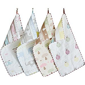 Sinland 100% Cotton Two-sided Baby Hand Towels Kids Cartoon Face Towels Children Colorful Cute Themed Sets 20Inch x 10Inch 4-Pack