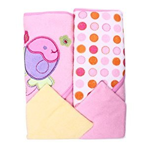 Spasilk Hooded Terry Bath Towel with Washcloths, Fish Pink, 2-Count
