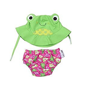 Zoocchini Swim Diaper and Sun Hat Set Frog- 6-12m, Medium