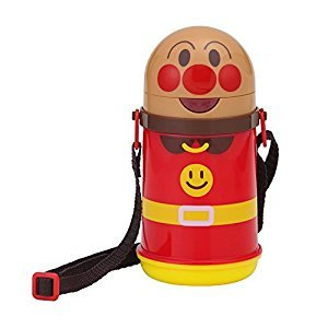 Anpanman straw water bottle with cold insulation, die cut
