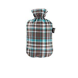 Fashy 6536 Hot Water Bottle with Cotton Cover with Tartan Design 2 L Blue