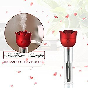 Air Humidifier ONEVER Portable Rose USB Ultrasonic Diffuser Cool Mist Air Purifier 3 Hour Timer Automatic Shut-Off with 20ml Cup for Office Home Car Travel Valentine's Day Gift