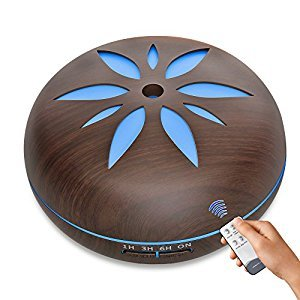Aroma Oil Diffuser-500ML Ultrasonic Remote Control Aroma Diffuser ,Wood Grain Humidifier Cool Mist Diffusers with 7 Color LED Lights for Home Yoga Office,Waterless Auto (550ML with Remote Control)