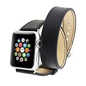 Spritech(TM) Elegance Watchband Replacement,Leather Barcelet Double Straps Band Wristband With Adapter For Apple Watch 38mm Black