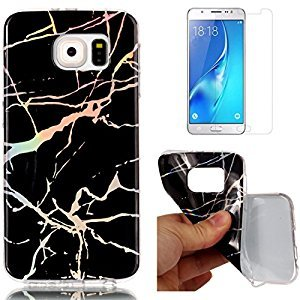 For Samsung Galaxy S6 Edge Marble Case Black,OYIME Unique Luxury Glitter Colorful Plating Pattern Skin Design Clear Silicone Rubber Slim Fit Ultra Thin Protective Back Cover Glossy Soft Gel TPU Shell Shockproof Drop Protection Protective Transparent Bumper