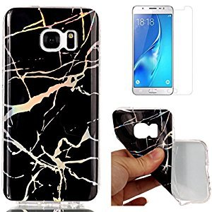 For Samsung Galaxy S7 Edge Marble Case Black,OYIME Unique Luxury Glitter Colorful Plating Pattern Skin Design Clear Silicone Rubber Slim Fit Ultra Thin Protective Back Cover Glossy Soft Gel TPU Shell Shockproof Drop Protection Protective Transparent Bumper