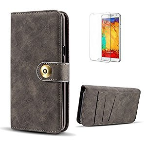 Funyye 2 in 1 Wallet Leather Case for Samsung Galaxy S8 Plus,Classic Black Premium Multifunctional Magnetic Flip Stand Case for Samsung Galaxy S8 Plus,Detachable Hard Back Cover with Foldable Card Slots Leather Case for Samsung Galaxy S8 Plus + 1 x Free Sc