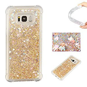 Galaxy S8 Plus Liquid Case,Galaxy S8 Plus Floating Case,Leeook Luxury Beauty Bling Shiny Sparkle Glitter Cover Gold Love Heart Quicksand Flowing Creative Design Crystal Transparent Clear Plastic Soft TPU Protective Shock Proof Shell Case Cover Bumper for S