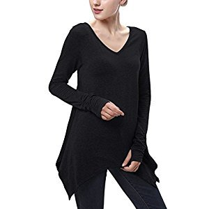 Women Tunic Tops for Leggings, Asymmetrical V Neck Casual Tee Black S