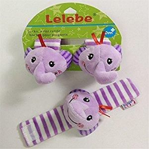 2pcs Cute Cartoon Baby Infant Wrists Rattle Set Toys for Kids,Animal Rattles Developmental Soft Toys for Newborn Boys and Girls (Elephant)