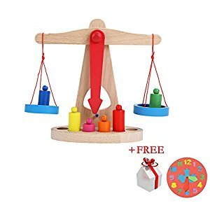 Children Toy Balance Scale w/ Wooden Weights