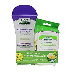 Aleva Naturals Stuffy nose kit - soothing comfort chest rub & bonus bamboo baby nose 'n' blows wipes, 1.7 Fl oz