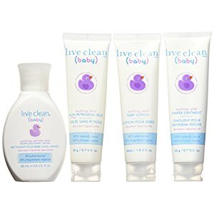 Live Clean Baby Soothing Oatmeal Diaper Bag Essentials, Trial Size Gift Set, 4 Count
