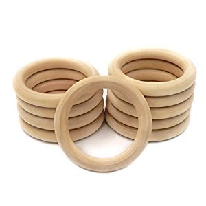 Amyster 20pcs 55mm 2.16inch Wooden Rings Natural Unfinished Wooden Teething Rings Baby Teether Mom Nursing Jewelry DIY Wood Ring (2.16inch)