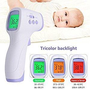 Thermometre Infrarouge Sans contact,Dulcii Thermomètre Frontal Numérique Multi-Fonctionnel pour bébé/enfant/adulte/animaux/Surface des objets