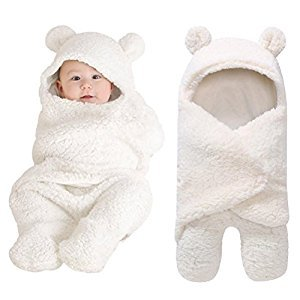 Sunbona Sleep Sack For Toddlers, Newborn Baby Fleece Warm Swaddle Wrap Sleeping Bag Kids Photography Prop Set (White)