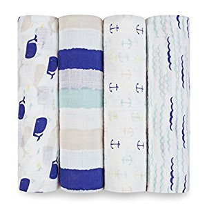 aden + anais Classic Swaddle 4 Pack, High Seas