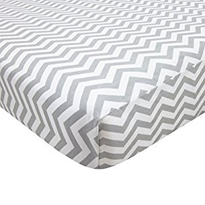 American Baby Company 100-Percent Cotton Percale Fitted Portable/Mini Crib Sheet, Zigzag Grey