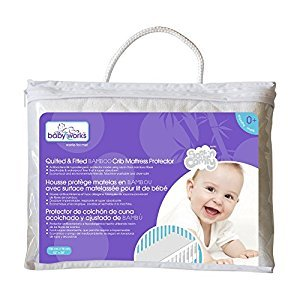 Baby Works Quilted and Fitted Bamboo Crib Mattress Protector, White