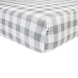 Burt's Bees Baby - Buffalo Check Fitted Crib Sheet, 100% Organic for Standard Crib and Toddler Mattresses (Fog)