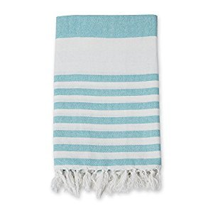 lulujo Turkish Towel, Ocean Blue/White