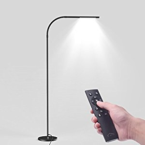 Joly Joy LED Crafting Modern Floor Lamps, Flexible Gooseneck Standing Reading Light With Stable Base,Dimmable & Touch & Remote Control (Adjustable, Infinite Color Temperature,Infinite brightness,Multi lighting Mode, 7W) , Near Bedside, Lounge Chair, Couc