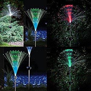 Naladoo 2Pcs Colorful Disc Fiber Solar Lawn Lamp LED Outdoor Decorative Lawn Landscape Mount Garden Lights