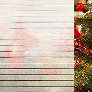Rabbitgoo Window Clings Privacy Etched Glass Window Film Window Frosting Film Non-adhesive Window Stickers, 44.5x150cm (Frosted Stripe,17.5