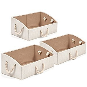 Set of 3 Storage Bins EZOWare Foldable Bamboo Fabric Trapezoid Storage Organizer boxes with Cotton Rope Handle, Collapsible Basket for Shelves, Closet, Baby toys, diaper, and More - Beige / Large