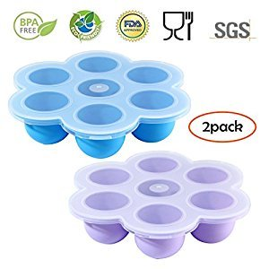 2 Packs Egg Bites Molds, Umiwe Silicone Baby Food Freezer Tray Storage Container with Clip-on Lid for Homemade Vegetable Fruit Purees, Breast Milk, jelly, pudding, ice-cubes (sky blue & light purple)