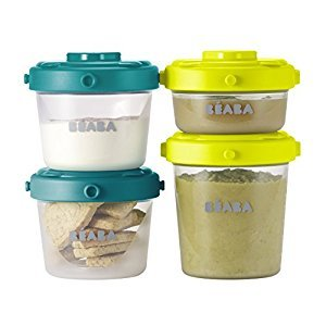 BEABA Clip Containers, Set of 6, 2oz & 4 oz for snacks and baby food, Peacock