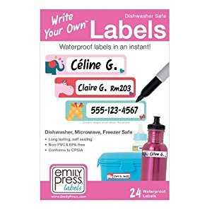 Emily Press Labels - Write Your Own Self-Laminating Waterproof Labels for Baby Bottles & Kid's School Lunch Boxes - Parade Love design. BPA-Free, Non-PVC.