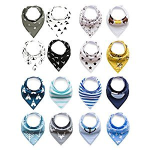 Baby Rarity Bandana Drool Bibs Absorbent Organic Soft Cotton Drool Bib for Teething Toddlers Infants Babies With Adjustable Snaps,16-Pack