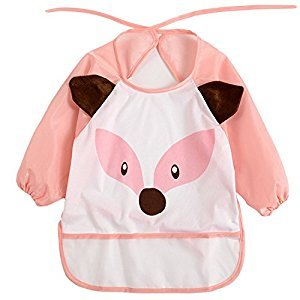 Cute Cartoon Animal Pattern Kids Baby Toddlers Waterproof Feeding Eating Smock Art Craft Painting Playing Bib Apron Clothing with Sleeves Unisex Style for 1-3 Years Old Fox Style