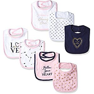 Hudson Baby  Cotton Drooler Bibs, 7 Pack Accessory, love, One Size