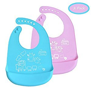 INCHANT Waterproof Roll up Bib Packs - Soft Comfortable Food Grade Silicone Kids Toddlers Infants Feeding Bib - Wide Food Crumb Catcher Pocket - Set of 2 Colours (Blue & Pink)