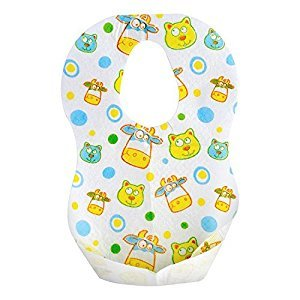 Kids Disposable Bibs with Crumb Catcher- 24 Pack