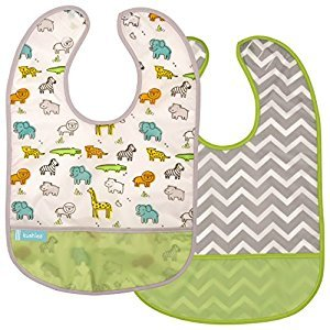 Kushies Baby B1173-2 Clean Bib Waterproof-Bib, White Little Safari/Green Chevron, 12-Month-Plus