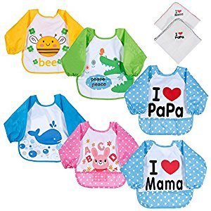 Lictin Bibs with Sleeves, Set of 6 Unisex Baby Waterproof Long Sleeved Bibs for 6-month Infants to 3-year-old Toddlers(Under 20kg) I love Mama Papa Design with 2 pcs 100% Cotton Baby Handkerchie