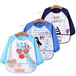 Toddler Baby Waterproof Sleeved Bib, Bib with Sleeves&Pocket, 6-36 Months ,Set of 3 Soft material
