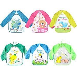 Ziye Shop 6pcs Cartoon Colorful Baby Bibs Long Sleeve Art Apron Animal Smock Children Bib Burp Clothes (B)
