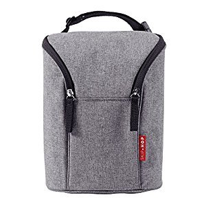 Skip Hop Grab & Go Double Bottle Bag, Heather Grey