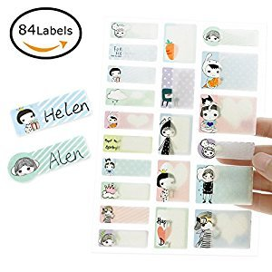 Itari Baby Bottle Labels,Waterproof Stickers Write-On Self-Laminating Name labels for School,Daycare,Cute design,4 sheets
