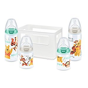 Nuk First Choice Baby Starter Set with a Winnie-the-Pooh Design Includes 4 Anti-Colic Wide-Neck Baby Bottles (2x 150ml and 2x 300 ml) with Latex Teats and a Bottle Storage Box